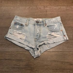 One teaspoon light denim shorts